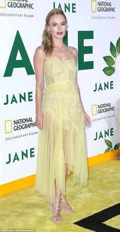 Kate Bosworth stuns in lemon dress with sheer skirt | Daily Mail Online