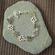 Connemara Marble Silver Shamrock Link Bracelet