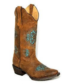 Look what I found on #zulily! Distressed Café & Turquoise Medallion Leather Cowboy Boot - Women #zulilyfinds