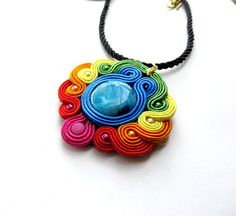 Rainbow  Soutache Pendant Neklace Charm Glamour Chic Green Blue Multicolor Soutache Jewelry Hand Embroidered Gift via Etsy