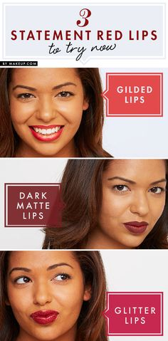 Make a statement with your lipstick! Here are 3 gorgeous lipstick looks to try in three different shades of red.