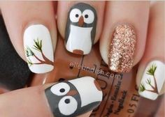 cute owl nail art bmodish dot comYou can find Owl nails and more on our website.cute owl nail art bmodish dot com Owl Nail Art, Owl Nails, Animal Nail Art, Cute Nail Art, Cute Nails, Pretty Nails, Penguin Nails, Owl Art, Minion Nails