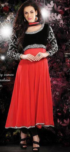 $150.36 Black and Red Zardosi Work Faux Georgette Anarkali Salwar Kameez 26402