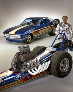 Connie Kalitta with the Ford powered 'Bounty Hunter' funny car and dragster... Like A Boss!