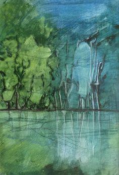 "Aquarell ""Spiegel am See"" ca. 35 x 46 cm Gouache, Vienna, Landscape, Painting, Art, Watercolor Painting, Glow Paint, Abstract Art, Art Production"