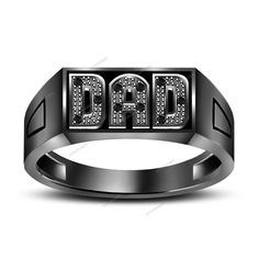 """Father's Day Special Round Cut Real Diamond In 925 Silver """"DAD"""" Ring Gift Item #aonedesigns #DADRing"""
