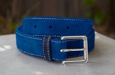 Royal Blue Suede Belt with Navy Loop and White by BeltCraft