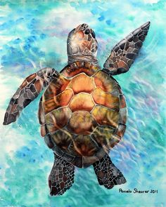 sea life - sea life photography - sea life underwater - sea life artwork - sea life watercolor sea l Sea Turtle Art, Turtle Love, Sea Turtle Painting, Cute Turtles, Baby Turtles, Sea Turtles, Motifs Animal, Ocean Art, Beach Art