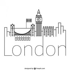 42 new ideas for wall graffiti cities London Logo, London Art, Travel Doodles, City Drawing, City Logo, London Landmarks, London Skyline, Art Graphique, Line Art