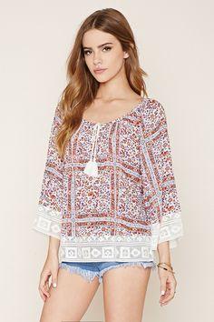 Floral Crochet Crepe Top