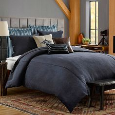 Solid Chenille Duvet Cover in Indigo - BedBathandBeyond.com