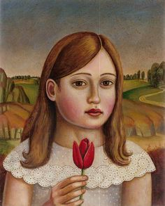 """""""Portrait of a Girl with Red Tulip"""" ...An oil painting on a wood panel painted by Rick Beerhorst"""