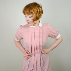 PINK rayon WAITRESS dress pleated bodice with by SartorialMatters, £26.00