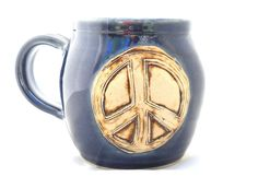 Ceramic Handmade Pottery Wheel thrown Peace  Mug by jewelpottery