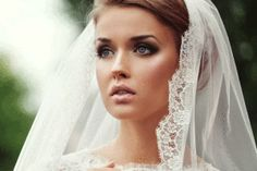 Bride Wearing Gown and Fresh Makeup