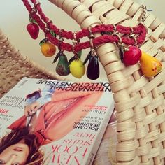 . Yummi FRUITS . #bimbaandlola #necklace #accessories #fruits #strawberry #lemon #tomato #mango #pear # #red #yellow #orange #green #black #wicker #bascket #vogue #magazine #fashion #blog #fashionblogger #elsaolaccessoire #ss2013 #lebanon - @elsaolaccessoire Wicker Patio Furniture, Vogue Magazine, Lebanon, Wicker Baskets, Pear, Mango, Strawberry, Fruit, Yellow