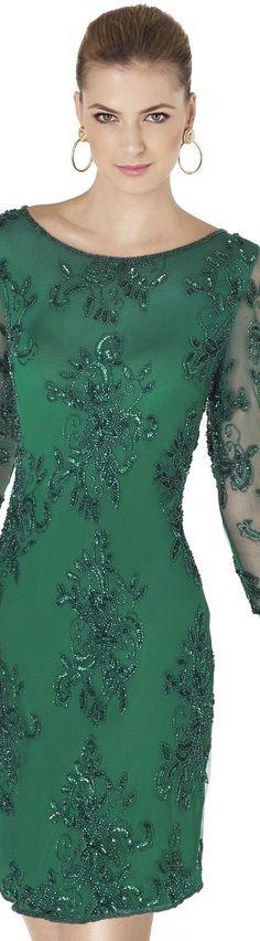 Emerald Beaded Cocktail Dress - Pronovias 2015 Cocktail Dress Collection