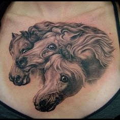 A black and grey tattoo piece of three frantic horses by artist Shane O'Neill. | Intenze ink