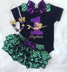 Mermaid First Birthday outfit-1st Birthday outfit/Under the sea theme/Mermaid outfit /Little Mermaid