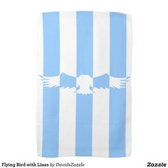 Flying Bird with Lines Hand Towel  Available on more products! Use the design name to search my Zazzle Products Page.  #eagle #bird #flight #flying #fly #feather #wings #blue #sky #take #white #animal #nature #planet #earth #illustration #silhouette #chic #contemporary #buy #sale #zazzle #home #decor #hand #towel