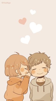 Discovered by Romantica bohemia. Find images and videos about love, cute and couple on We Heart It - the app to get lost in what you love. Cute Chibi Couple, Cute Couple Cartoon, Anime Love Couple, Cute Anime Couples, Animes Wallpapers, Cute Wallpapers, Kawaii Art, Kawaii Anime, Anime Chibi