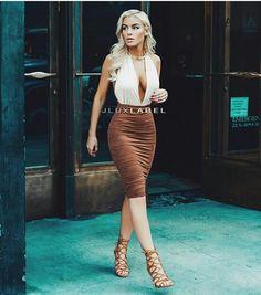 Skirt brown white tops summer