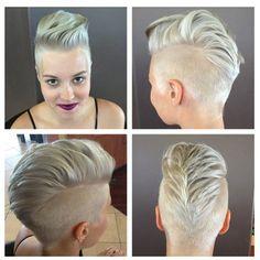 Pompadour Mohawk | Platinum, Silver Hair, Pompadour, Mohawk, Girlhawk, Rocker Chick, Punk ...