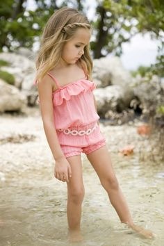 Pull on Romper- Would make a cute swimsuit cover.