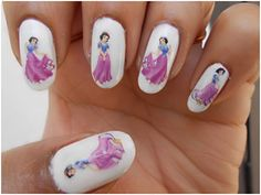 Snow White Nails Tutorial Using Water Decals