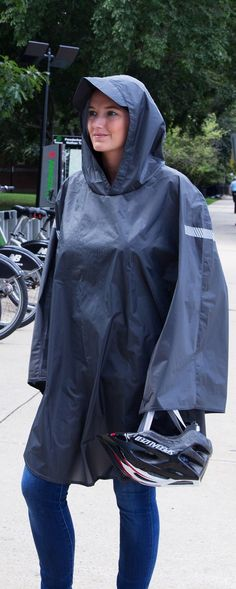 This Made in the USA rain cape features reflective details, a brimmed hood, and thumb loops for dry hiking, biking, or walking. Raincoats For Women, Jackets For Women, Rain Cape, Rain Poncho, Tactical Clothing, Rain Gear, Sport Wear, Hooded Jacket, Rain Jacket