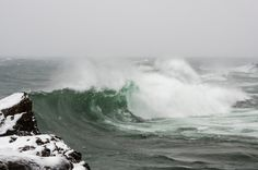 Large waves on Lake Superior during a January storm. Marquette Michigan, Large Waves, Upper Peninsula, Win A Trip, Lake Superior, Place Of Worship, Winter Scenes, Nature Photos, World
