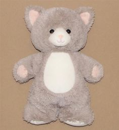 """Gray White Kitty Cat Bean Bag Plush Stuffed Toy Standing Plastic Eyes Nose 12"""" #Unknown"""
