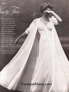 Vintage lingerie Vanity Fair has always been one of my favorites. Vintage Bridal, Vintage Lingerie, Vanity Fair Lingerie, Lingerie Illustration, Celebrity Photographers, Peignoir, French Lace, Night Gown, One Shoulder Wedding Dress