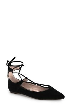 Topshop 'Finest Shillie' Lace-Up Pointy Toe Flat (Women) available at #Nordstrom