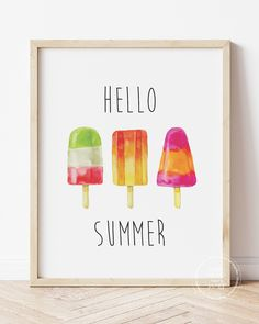 *FREE* Printable! Say hello to Summer with this cute popsicle printable decor. Download, print & frame! Easy summer decor! #freeprintables #summerdecor #hellosummer Diy Art, Diy Wall Art, Nursery Wall Art, Summer Fun For Kids, Hello Summer, Printable Art, Free Printables, Inspiration Art, Stationery Items