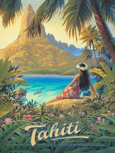 Vintage Tahiti Travel Poster...
