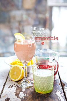 Hibiscus Mango Coconut Smoothie recipe   MarlaMeridith.com #smoothie #smoothierecipe #recipe