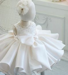 Girly Shop's White Round Neckline Sleeveless Knee Length Pearl & Crystal Applique Little Girl Ruffle Dress With Big Bow Front