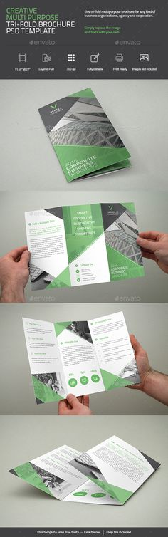 Creative Multi Purpose Tri-Fold Brochure Template PSD. Download here: http://graphicriver.net/item/creative-multi-purpose-trifold-brochure/16447142?ref=ksioks
