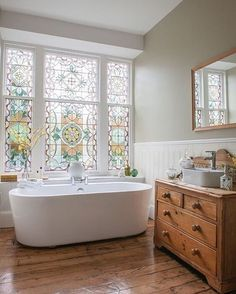 """267 Likes, 2 Comments - Williams Sonoma Home (@wshome) on Instagram: """"This beautiful stained glass bathroom stopped us right in our tracks. We love the idea of…"""""""