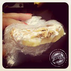 Kem Chuoi - frozen banana with coconut cream and crushed roast peanuts