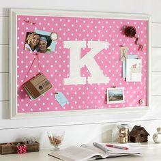 Monogram Pink Dottie Framed Pinboard   PBteen