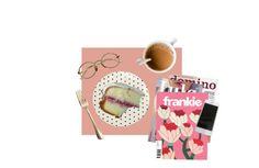 """tea and cake"" by caylor ❤ liked on Polyvore featuring art"