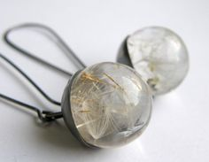 .:  Dandelion Seeds Resin Earrings, Resin and Silver Earrings by sylwia calus  :.
