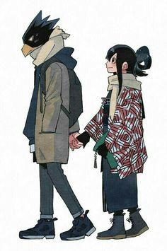 Anime: My hero academia。 Character: Tokoyami Fumikage、Asui Tsuyu。 Boku No Hero Academia, My Hero Academia Tsuyu, My Hero Academia Memes, Hero Academia Characters, My Hero Academia Manga, Boku No Hero Tsuyu, Tokoyami Boku No Hero, Anime Couples, Cute Couples