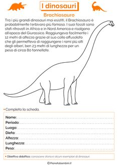 I Dinosauri: Schede Didattiche per la Scuola Primaria | PianetaBambini.it Yabba Dabba Doo, History For Kids, Problem Solving, Homeschool, Activities, Education, 3, Studio, Google