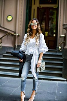 What I Wore: Casual In Melbourne - Storets Wrap Blouse // Zara Leather Jacket // Express Gray Jeans // Gucci Dionysus Bag // Public Desire Heels // Quay Sunglasses November 16th, 2016 by maria