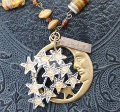 Vintage Rhinestone Moon Charm Joined with Amber Glass Beaded Chain- I SEE the MOON. $40.00, via Etsy.