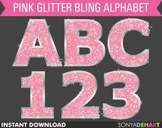 50% Off Sale  Digital Alphabet Pink Sparkly Bling Glitter Letters Commercial Use Clip Art Instant Download. $2.48, via Etsy.