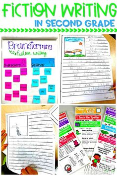 Fiction writing in second grade. Daily writing lesson plans, anchor charts, and resources to print and teach fictional writing in 2nd grade. #fictionwriting #secondgrade #2ndgradewriting #lessonplans
